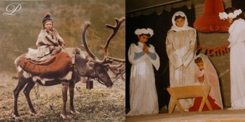 Left: Giving a Child a Ride. Lapland. 1898. From the Sheldon Jackson Papers, 1855-1909. Right: Christmas Pageant at the American School for Girls in Baghdad, 1956 from the Margaret Purchase papers, 1943-2003.